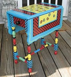painted table or can do this with a typewriter table. Art Furniture, Funky Furniture, Colorful Furniture, Repurposed Furniture, Furniture Makeover, Painting Furniture, Furniture Design, Whimsical Painted Furniture, Painted Chairs