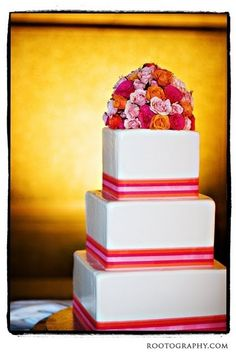 Pink and Orange wedding cake by marcella