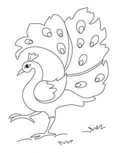 A dancing peacock coloring page | Download Free A dancing peacock coloring page for kids | Best Coloring Pages
