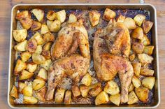 Greek Chicken and Potatoes. Loaded with lemon, oregano, and garlic and all cooked on a single sheet pan. momskitchenhandbook.com.