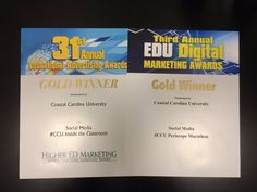 It is because of YOU that our social media program is successful. Two top awards this academic year...thanks! #CCU