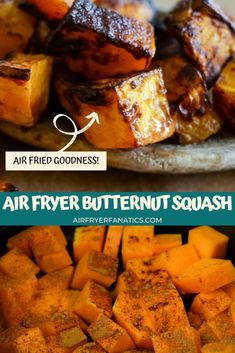 Air Fryer Butternut Squash is a delicious roasted taste without having to use the oven. It only uses 3 ingredients and is ready in 20 minutes! #AirFryer #Squash #AirFryerVegetables #GlutenFree