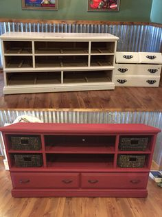 Old dresser into TV cabinet with Chalk Paint - Annie Sloan burgundy.