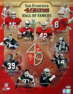 San Francisco Hall of Famers Autographed Photo With 10 Signatures Including Joe Montana, Jerry Rice & Steve Young PSA/DNA Nfl 49ers, 49ers Fans, Fsu Baseball, Nfl Football, American Football, Football Stuff, Baseball Shirts, Baseball Tickets, School Football