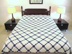 QUEEN-Vintage-Truly-OLD-Hand-Sewn-Old-Cotton-IRISH-CHAIN-QUILT-Good-Condition