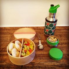 wooden Eshly Deli Box + Kivanta stainless steel bottle + Koverz insulating tote / wooden Bentobox / made in Germany