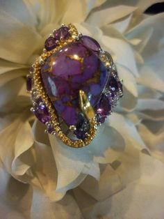 14K & Platinum Over Sterling Silver, Amethyst, mojave purple turquoise Ring 6.5 #Cocktail #Anytime