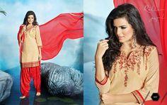 Amazing Beige Red Pure Cotton Patiala Salwar Kameez2141
