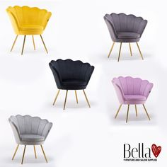 Unique Armchair with an extraordinary shell shape, extremely comfortable thanks to the deep seat. Upholstered with soft velour fabric. Shine your salon interior. Bella Furniture, Beauty Nail Salon, Salon Chairs, Velour Fabric, Grey Chair, Scandinavian Style, Banners, Salons, Accent Chairs