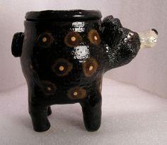 AMERICAN-BLACK-BEAR-FOLK-POT-Animal-Face-Jug-Spice-Jar-Effigy-Jar