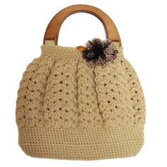 Shell Pattern Crochet Bag with Handle Top