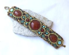 Bead Embroidered Cuff Bracelet Turquoise Red by RedTulipDesign