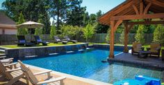 Swimming Pool:Wonderful Decorating Backyard Small Pool Designs Inspiration With L Shape Pool Also Covered Outdoor Seating Plus Lounge Chairs Over Patio Umbrella Interesting Small Pool Ideas in Backyard Small Backyard Design, Small Backyard Pools, Backyard Pool Landscaping, Backyard Pool Designs, Large Backyard, Backyard Ideas, Landscaping Ideas, Small Backyards, Patio Ideas