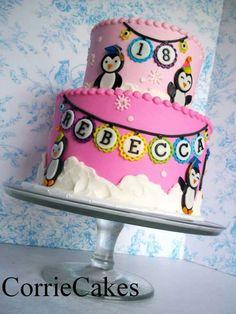 Pinguin cake pink