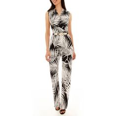 247c5e1b288 Studio 1® Sleeveless Tropical Print Belted Jumpsuit - JCPenney Suits You