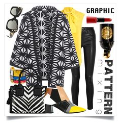 """""""Graphic Pattern MIx"""" by capricat ❤ liked on Polyvore featuring Helmut Lang, Évocateur, Moschino, Dsquared2, Karl Lagerfeld, Pollini, Versace, Guerlain and Giorgio Armani"""