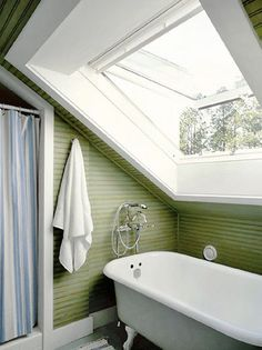 Skylight in small bathroom with sloped ceilings. Perfect for my upstairs bath.