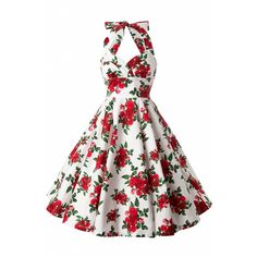 Bunny 50s Retro Halter Cannes Roses Dress in White ($82) ❤ liked on Polyvore