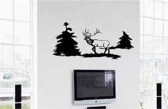 Elk Man Cave Animal Rustic Cabin Lodge Mountains Hunting Vinyl Wall Art Sticker Decal