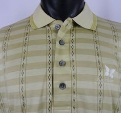 Kapalua Hawaii Golf Resort Mens L Logo Polo Shirt SS Beige Gold Egyptian Cotton  #Descente #PoloRugby