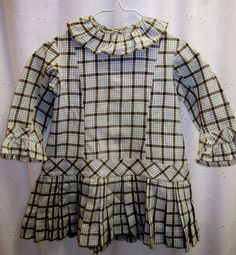 Vintage/Antique  Baby child's long sleeve plaid dress size (18 mo. - 2 yrs?) #Handmade