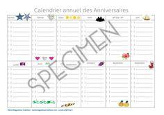 Calendrier annuel des anniversaires, en vente sur la boutique en version papier ou printable!