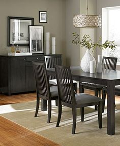 Slade Dining Room Furniture Collection - Dining Room Furniture - furniture - Macy's what dining room would look like with gray walls and black table/chairs