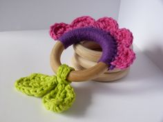 Flower Teething Ring by JoyfulRound on Etsy Crochet Baby Toys, Crochet Bebe, Newborn Crochet, Diy Crochet, Crochet Ring Patterns, Crochet Rings, Teething Toys, Baby Teething, Crochet Quilt