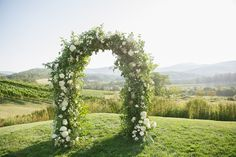 Floral ceremony arch at Pippin Hill Farm and Vineyards in Charlottesville, Va. Wedding Bells, Wedding Flowers, Virginia Wineries, Charlottesville Va, Ceremony Arch, Summer Weddings, Wine Country, Vineyard, Backdrops