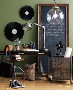 A large frame with a chalkboard would look cool leaning between the windows in the Kitchen. You guys could write notes to each other, doodles, Merry Christmas, and would be fun for the grandkids. :)