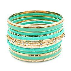Sparkling Mint Bangle Set