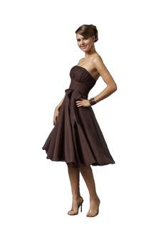 c5ece5c15bf Chocolate chiffon short summer strapless bridesmaid dress