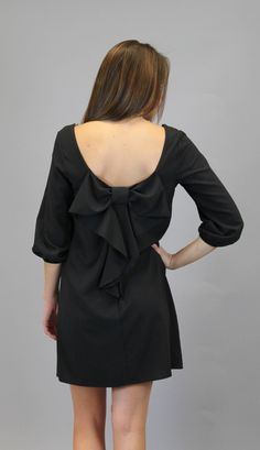 Bow Back Shift Dress - Black