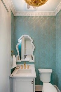 Turquoise Wallpaper. Powder Room with turquoise wallpaper, gold faucet and golden lighting. #Turquoise #TurquoiseWallpaper #Powderroom Spacecrafting Photography. City Homes Design and Build, LLC. Jodi Mellin Interiors