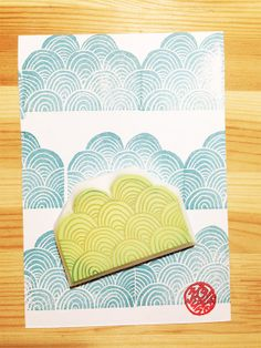 ocean wave rubber stamp. hand carved rubber stamp. pattern stamp. READY TO SHIP