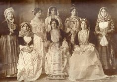 Faces of the Victorian Era, Four ladies in fancy dresses by Nori (Nóra. Photographs Of People, Vintage Photographs, Vintage Photos, Antique Photos, Old Photos, Hungarian Women, Istanbul Pictures, Greek Traditional Dress, Greece Pictures