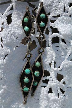 Vintage Zuni 925 Sterling Silver Snake Eye Turquoise Screw Back Earrings | eBay