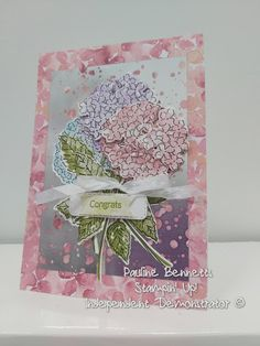 Homemade Greeting Cards, Hand Made Greeting Cards, Greeting Cards Handmade, Hydrangea Bloom, Stamping Up Cards, Fathers Day Cards, Congratulations Card, Flower Cards, Scrapbook Cards
