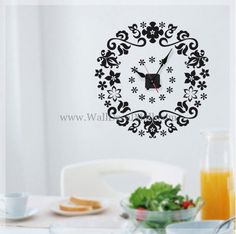 Flower Clock Wall Decals – WallDecalMall.com Cheap Flowers, Colorful Flowers, Discount Flowers, Wonderful Flowers, Flower Wall Stickers, Clock Wall, Cooking Timer, Wall Colors, Cricut Ideas