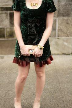 90s Velvet Dress + Bowtie Necklace