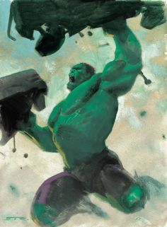 """""""Because you thought you were stronger than the Hulk? No one is stronger than the Hulk! Marvel Comics Art, Marvel Comic Universe, Marvel Comic Books, Marvel Characters, Comic Books Art, Silver Surfer, Comic Book Artists, Comic Artist, Alex Ross"""