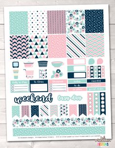 Pink Navy & Blue Printable Planner Stickers PDF Instant Download Weekly Graphics