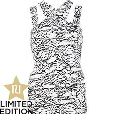 BLACK AND WHITE CUT OUT STRAP TOP - River Island price: £22.00