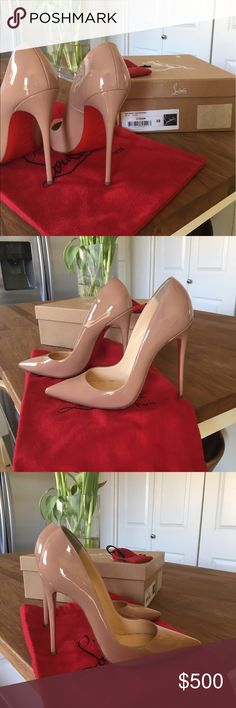 Christian Louboutin Nude Patent So Kate Pumps Size: 38. Fits 7.5-8 US. Style: So Kate Color: Nude Patent. Comes with box, dust bag, and extra heel tips. Good condition only worn a handful of times. Christian Louboutin Shoes Heels