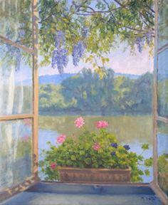 Fenêtre, vue sur la Seine Oeuvre de Michèle Ratel