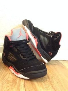 1af9d58e1d970 Nike AIR JORDAN v 5 RETRO PS size 11c shoes Alarming Red Black Cute Kicks  Girls