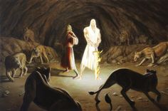"""Acrylic on hardboard, 24"""" x 36"""" As he came near to the den where Daniel was, he cried out in a tone of anguish. The king declared to Daniel, """"O Daniel, servant of the living God, has your God..."""