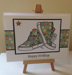 Woodware sneakers paper pieced. Birthday Cards For Boys, Teen Birthday, Handmade Birthday Cards, Teenager Birthday, Handmade Cards, Boy Cards, Kids Cards, Men's Cards, Penny Black Stamps