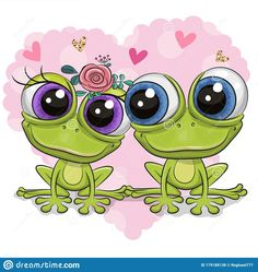 Illustration about Two Cute Cartoon frogs on a background of heart. Illustration of happiness, childbirth, green - 179188138 Funny Frogs, Cute Frogs, Cartoon Mignon, Frog Drawing, Art Mignon, Frog Art, Flower Phone Wallpaper, Little Doodles, Simple Acrylic Paintings