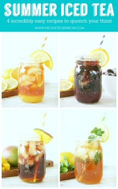 Summer Iced Tea - 4 Easy Recipes (Orange Lemonade Iced Tea, Lemon-Lime Mint Iced Tea, Mango Iced Tea, Blackberry Iced Tea) thecraftedsparrow.com